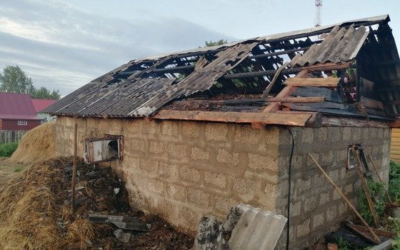 Соседи помогали тушить пожар в сарае в деревне Селезни Смоленской области